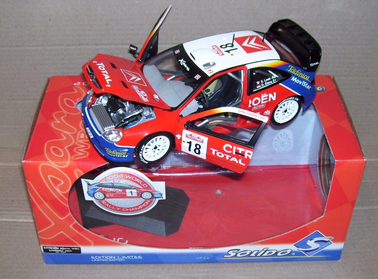 SOLIDO PRESTIGE 1 18 CITROEN XSARA WRC RALLY SANREMO 2003 LOEB ELENA REF 9049