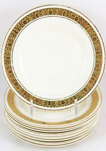 SET-9-BREAD-PLATES-BURLEIGH-WARE-CHINA-ENGLAND-RAISED-GOLD-ENCRUSTED-CREAM-WHITE