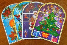 4 Stained Glass Window Clings Stickers Santa Snowman Tree Christmas Decorations