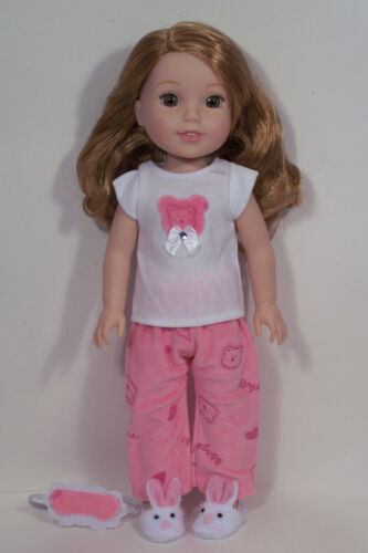 """Debs PINK Bear Pajamas  PJs w//Eye Mask Doll Clothes For 14/"""" AG Wellie Wishers"""