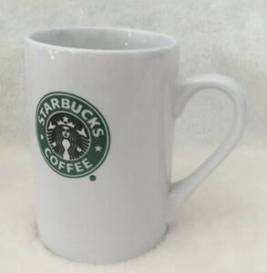 Starbucks-2008-Coffee-Tea-Mug-Cup-White-with-Green-Black-Logo-10-oz-Skinny