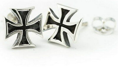 Romantisch 1 Paar Massive Ohrstecker Templar Mittelalter Kreuz 925 Silber Eisernes Kreuz