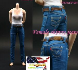1/6 female tank top vest Skinny Jeans Trousers Pants for phicen hot toys ❶USA❶