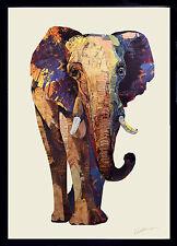 Handarbeit Elefant Collage Kunst Pop Frame Afrika Wand Bild Deko Lein Wohnzimmer