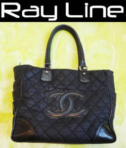 66ec1691780dd1 100% authentic [CHANEL] Fabric x Leather Tote Bag / Black CP (Used ...