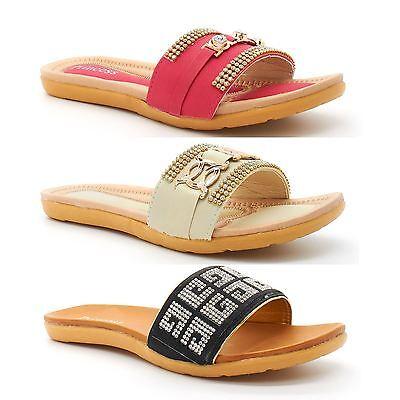 Ladies New Womens Diamante Beach Shoes Size Summer Flip Flops Sandals Flat Mules | eBay
