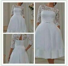 Vintage Tea Length White/Ivory Lace Wedding Dress Size 6-18 UK