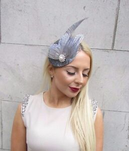 Silver White Grey Feather Fascinator Headpiece Hair Clip Hat Races Ascot 2469