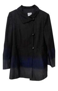 Armani-Collezioni-Women-s-Jacket-Coat-Size-12-Black-Blue-Gray