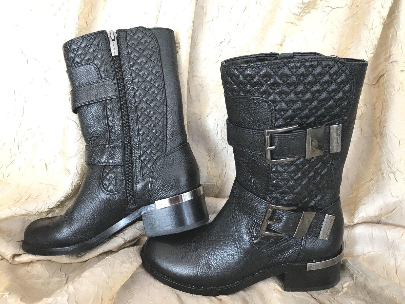 acquista la qualità autentica al 100% Vince Vince Vince CamutoWeltonMed-HeightneroLeatherQuilted Motostivali scarpe donna 5M  Miglior prezzo