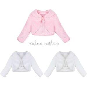 8a7431475c5 Flower girl Faux Fur shawl Wrap Kids Girls Wedding Gown Shrug Jacket ...