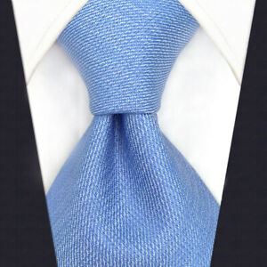 Mens Necktie Set Solid Light Baby Blue Tie with Pocket Square