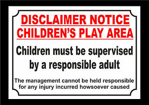 Disclaimer Notice Children S Play Area Supervised By Adult