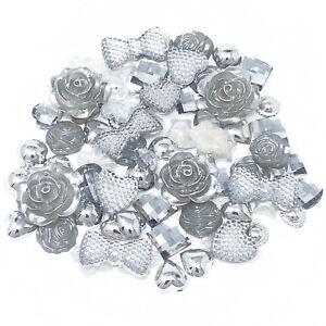 80-Mix-Silver-Shabby-Chic-Resin-Flatbacks-Craft-Cardmaking-Embellishments