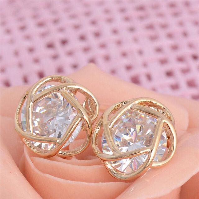 Wonderful jewelry 18k Gold plated hollow cubic zirconia women's stud earrings