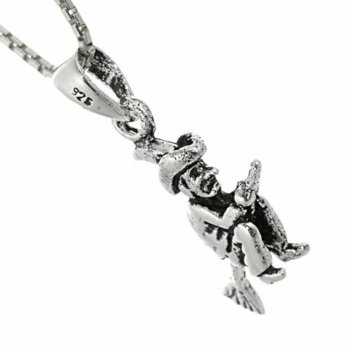 Quirky Oxidised Witch on Broomstick Pendan... Magical Sterling Silver Jewellery
