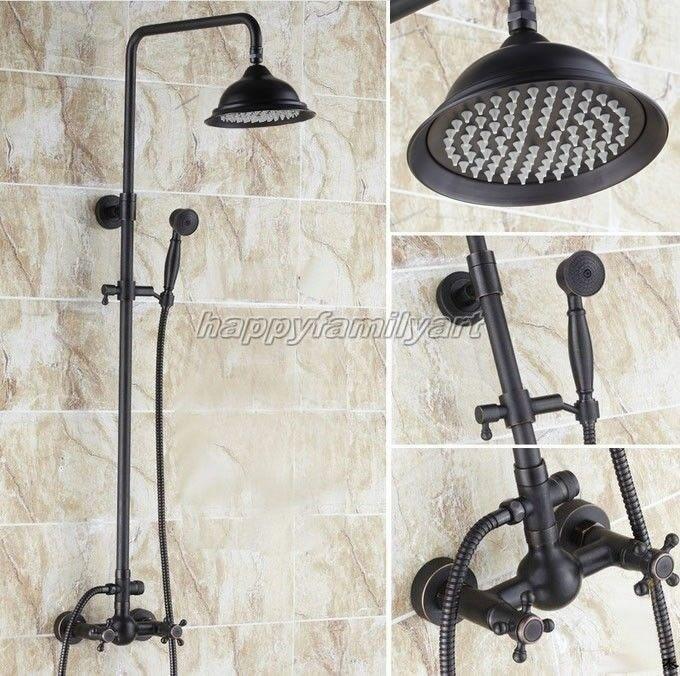 Huile noire frougeté laiton mur monté pluie robinet douche mis Yrs412