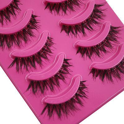 5x Pairs Stunning Makeup Handmade Messy Natural Cross False Eyelashes Eye Lashes