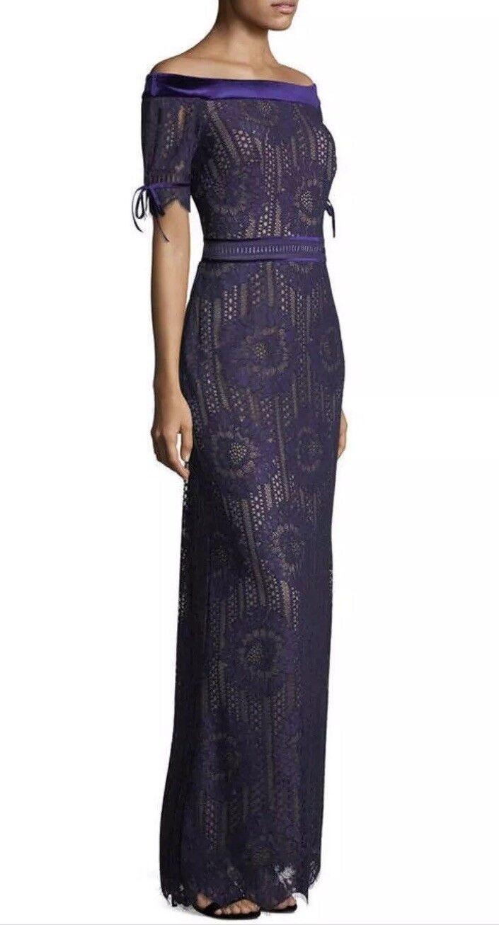 NWT Tadashi Shoji Off The Shoulder Circular Lace Gown Size 6  595