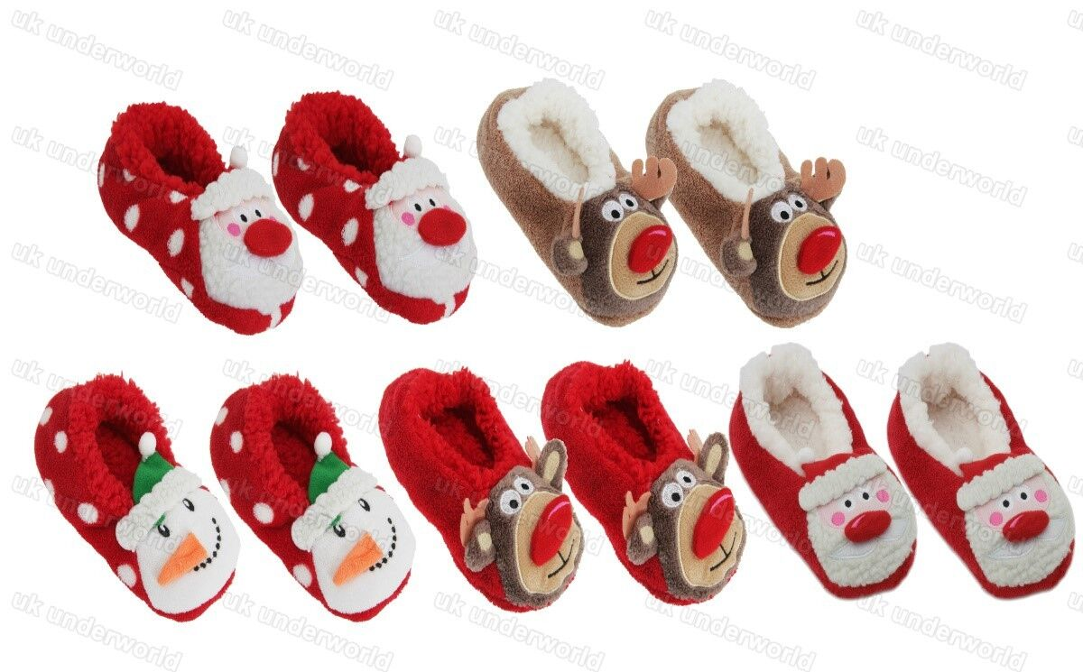 Ladies Co-Zees Christmas 3D Novelty Slippers Padded Sherpa Lining Xmas Gift 4-6