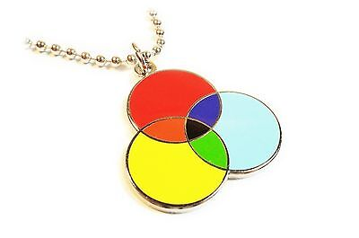 CMYK Graphic Design Artist Color Wheel Printing Charm Pendant Necklace w/ Chain