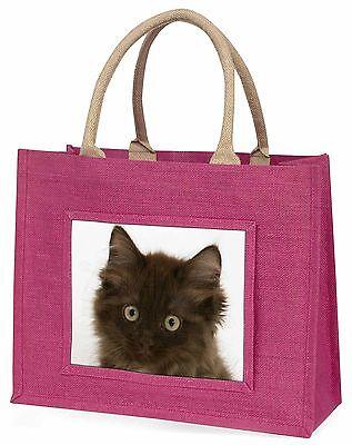 Flauschig Braun Kätzchen Gesicht Große Rosa Einkaufstasche Weihnachtsgeschenk I,