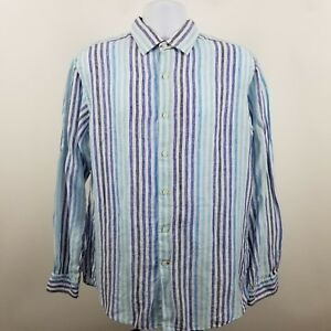 Cremieux-Collection-Men-039-s-Blue-Gray-Striped-L-S-Linen-Button-Shirt-Sz-Large-L