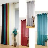 "New BOSTON Window Panel Plain Voile Linen Effect Eyelet Drop Curtains 54""72""90"""