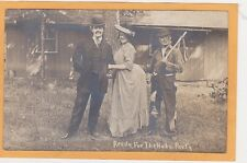 Real Photo Postcard RPPC - Hobo Party Three Men One as Woman Crossdressing