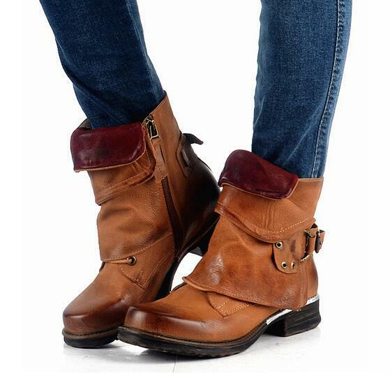 Womens Retro Real Leather shoes Ankle Cowboy Western Buckle Round Toe Punk Boots