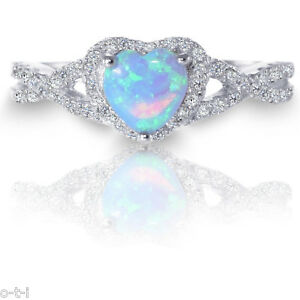 Blue Opal Enement Rings | White Gold Infinity Celtic Engagement Heart Moon Blue Fire Opal