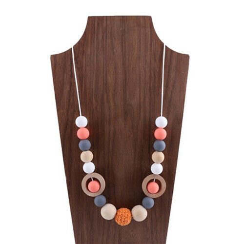Silicone Round Beads Crochet Beads Wooden Teether Teething Necklace Shower Gifts