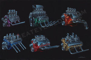 ZOMBIE-ART-PRINT-CHEVY-FORD-HOT-ROD-ENGINE-RAT-ROD-CARS-ED-ROTH-LOWRIDER-DODGE