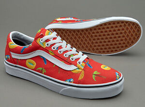 Vans Old Skool Pool Vibes Racing Red Canvas Skate Shoes Size 5 Men ... 6991e7880