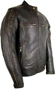Retro-Moto-Giacca-di-pelle-Vintage-look-vissuto-Giacca-Moto-Biker-Chopper-trapunta-camouflage