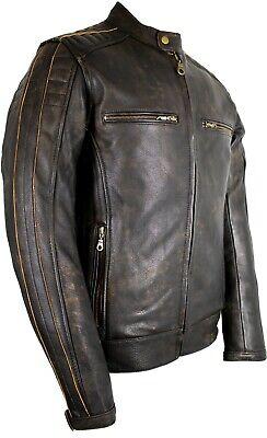 Motorrad Lederjacke im Antik Retro Used Look Biker Jacke Motorrad Leder Jacke