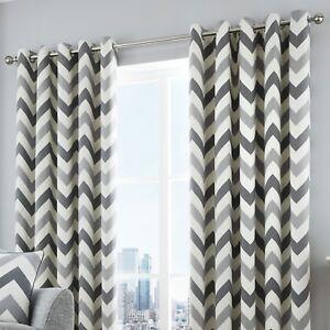 Fusion-CHEVRON-Grey-amp-White-100-Cotton-Ready-Made-Eyelet-Curtains-amp-Cushions