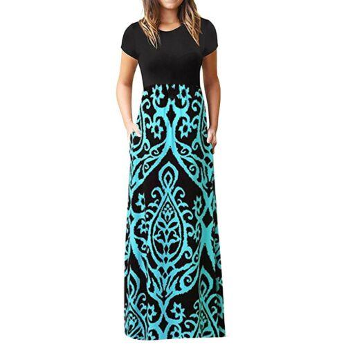 Women Plus Size Maxi Boho Floral Printed Short Sleeves Tunic Long Casual Dress