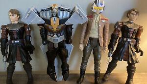 "Lot Of 4 Star Wars 12"" Hasbro Action Figures Talk Sound Anakin Transformer"
