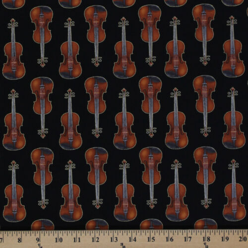 Violins Musical Instruments Orchestra Black Cotton Fabric Print by Yard D773.09