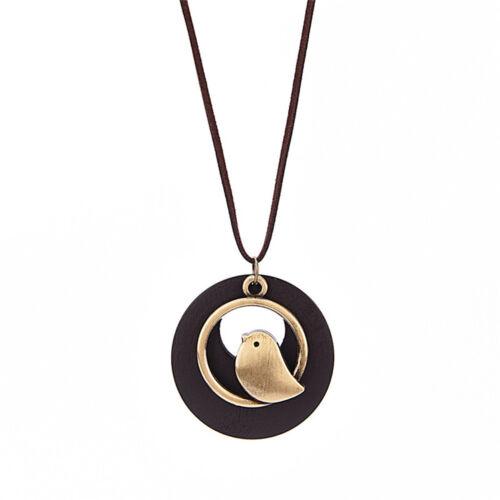 Fashion Women Bird Wooden Bead Pendant Vintage Long Necklace PB