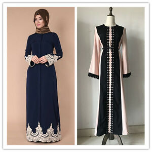 efaed6f4b37 Dubai Style Women Lace Trim Abaya Jilbab Muslim Islamic Long Sleeve ...