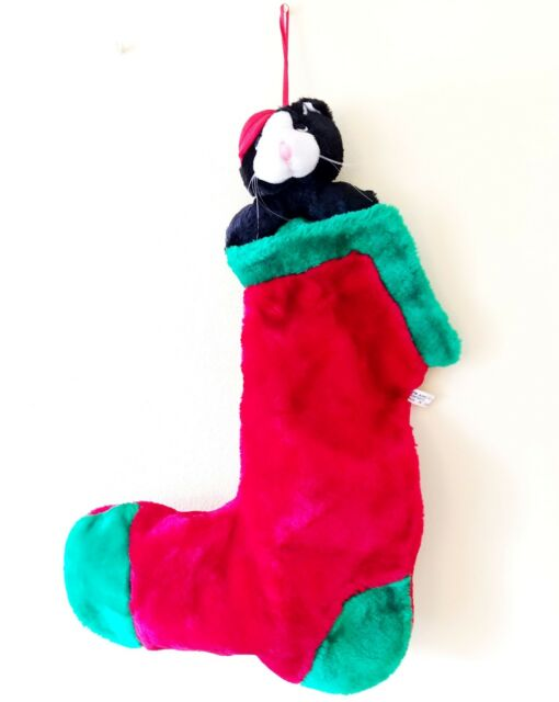 Vintage Cat Plush Stocking Unique Kitty Green Red Childs