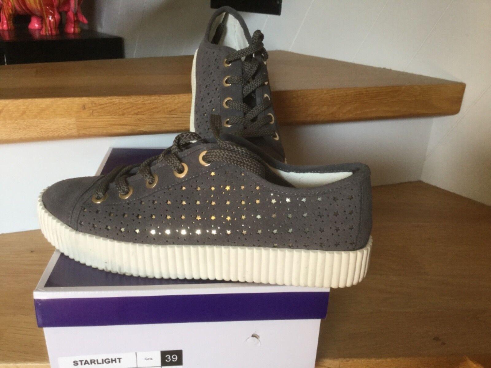 92e41a8082cef Sneakers André baskets cuir gris étoiles étoiles étoiles taille 39 comme  neuves 79 euros 66adb7