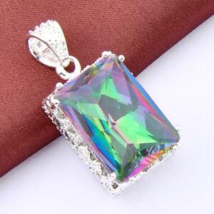 Top-Fashion-Vintage-Silver-Rainbow-Mystical-Topaz-Gemstone-Necklace-Pendant