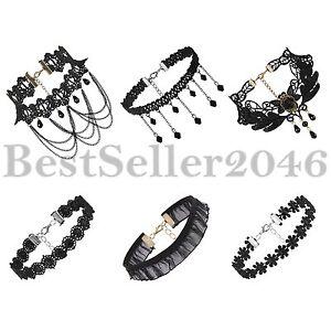 6pcs-Gothic-Punk-Women-039-s-Black-Velvet-Tattoo-Lace-Choker-Collar-Necklace-Retro