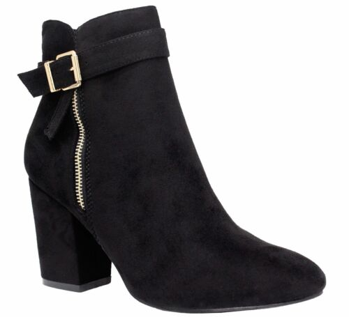 Ladies Womens Mid High Block Heels Casual Buckle Chelsea Ankle Boots Shoes Size