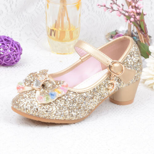 Toddler Kids Baby Girls Princess Shoes High Heels Bowknot Dress Party Shoes