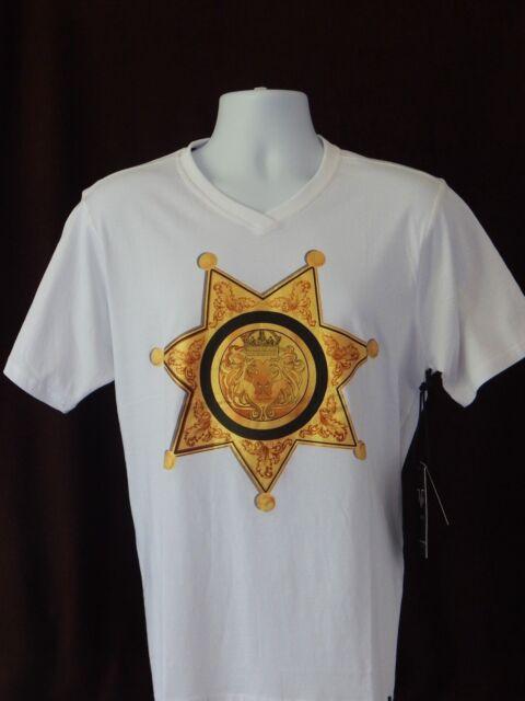 Versace V1969 Italia White Or Red Gold Logo Lion V Neck T Shirt