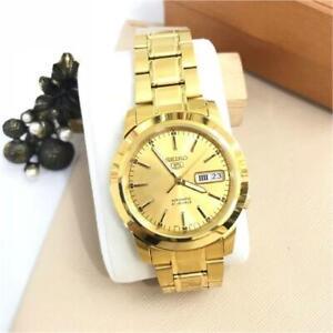 Seiko-5-SNKE56K1-Automatic-Gold-Tone-Stainless-Steel-Analog-Men-039-s-Watch